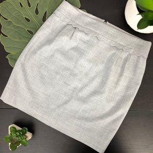 J Crew Light Grey Wool Skirt w/Scalloped Waistband